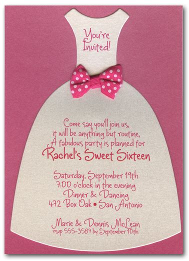 Shimmery White Diecut Dress on Hot Pink Party Invitations from TheInvitationShop.com.  Great for princesses of all ages PLUS princess party planning tips an ideas from TheInvitationShop.com