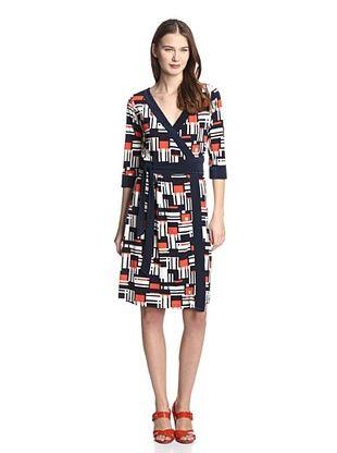 72% OFF Melissa Masse Women's V-Neck Wrap Dress (Tangerine Navy Grid)