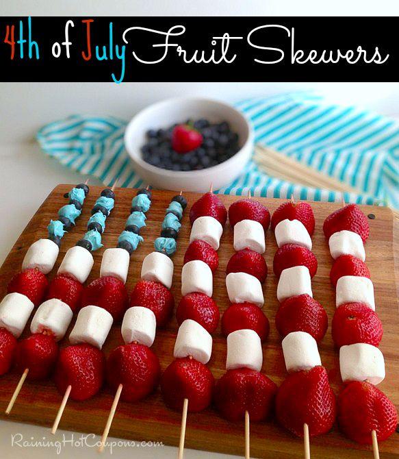 4th Of July Fruit Skewers Recipe --> http://www.raininghotcoupons.com/4th-of-july-fruit-skewers-recipe
