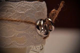 rings on twine & lace wrapped mason jar candle holder