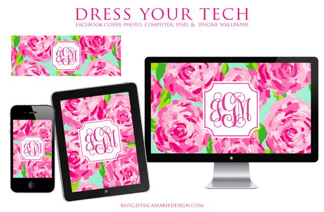 Jessica Marie Design Blog: Lilly Pulitzer monogram wallpaper
