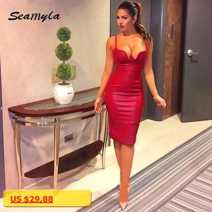 2017 New Winter PU Leather Dresses Women Red Black Gold Pink Blue Sexy Bodycon Party Dress Knee Length Hot Kim Kardashian Dress