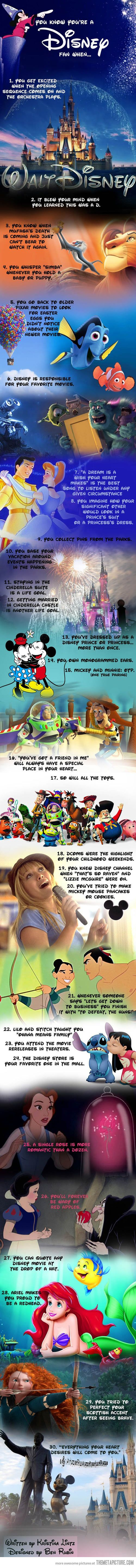 Every one of those is me I can do all that. They say I've got a Disney obsession problem