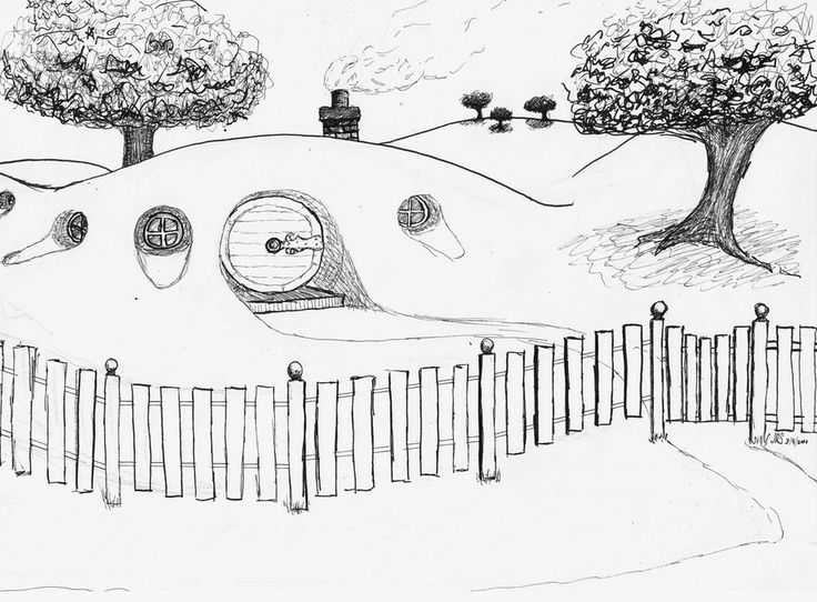 It is a graphic of Playful Hobbit Coloring Pages