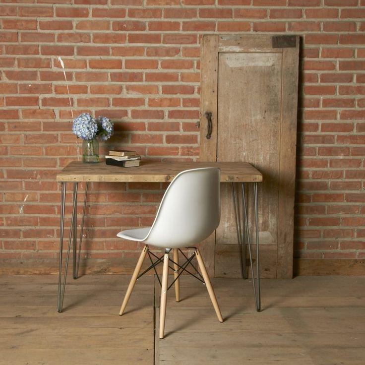 Schreibtisch Selber Bauen   Rustikal Mit Metallbeinen