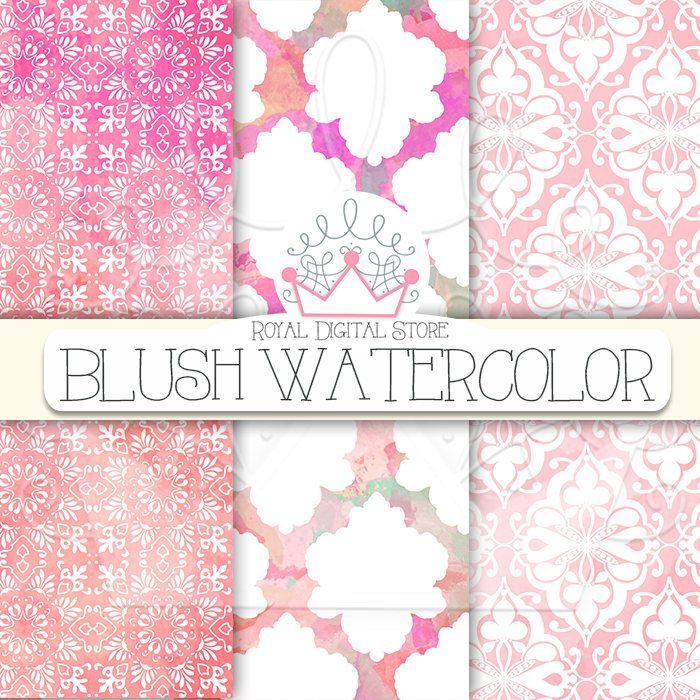 "Watercolor Digital Paper: ""BLUSH WATERCOLOR"" with pink watercolor digital paper, pink backgrounds, damask, wood for planners, scrapbooking #damask #pink #watercolor #digitalpaper #shabbychic #romantic #scrapbookpaper #wedding #woodtexture"