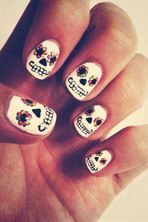 Day of the Dead nails, sugar skull nail art, halloween nail design, sugar skull nail design
