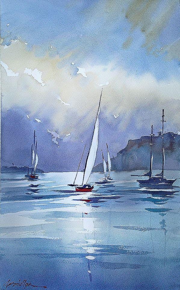thomas w. schaller - watercolor artist Plein-air half sheet demo - Bay at Shelter Island - San Diego Watercolor Society.