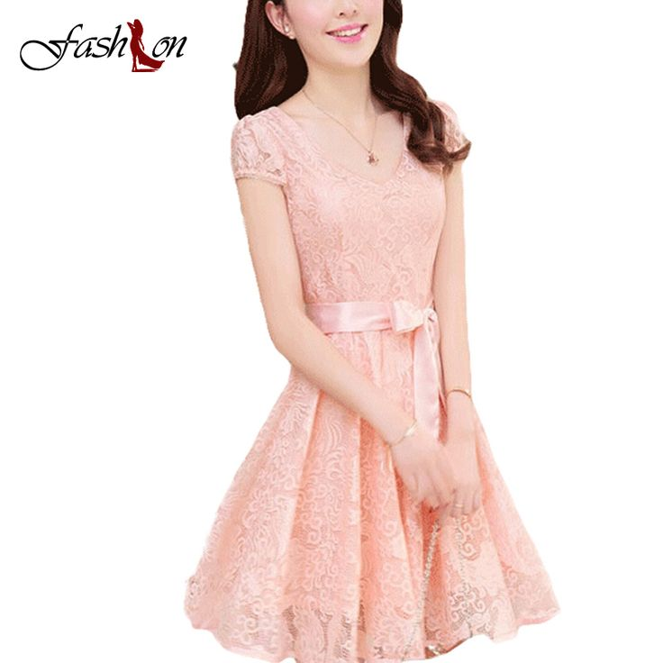 S M L XL 2XL 3XL Summer Women Lace Dresses Korean Female V-Neck Bow Sashes Decor Puff Sleeve Show Slim Fair Lady Mid Vestidos