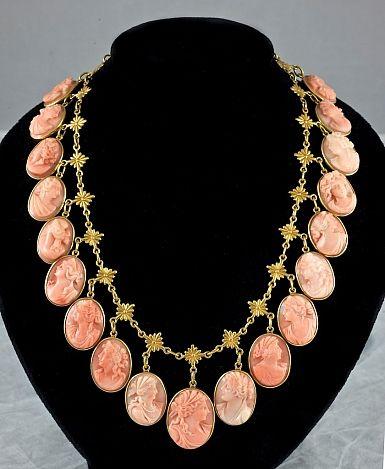 Antique Coral Cameo Necklace 14 kt Gold circa 1880-1890.