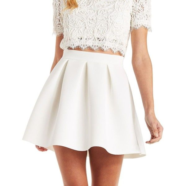 Charlotte Russe Scuba Knit Skater Skirt (€21) ❤ liked on Polyvore featuring skirts, mini skirts, ivory, flared skater skirt, white skater skirt, white skirt, high waisted mini skirt and short mini skirts