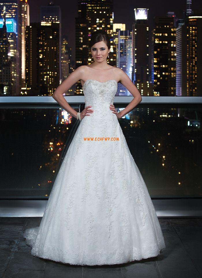 Princesse Robe de mariée tulle appliquée broderies cristal detaillant traîne moyenne