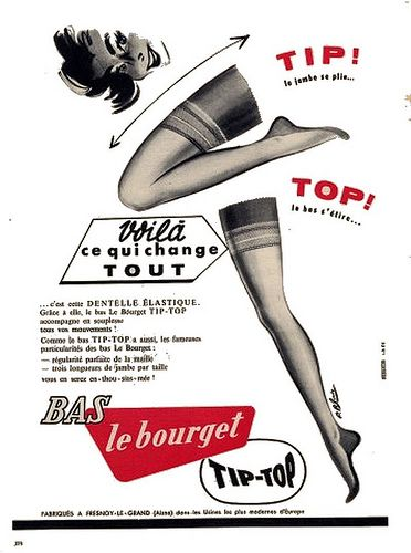 the 1950s-1955 ad for le bourget stockings