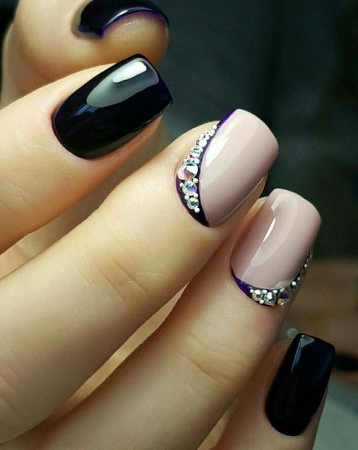 Black, light pink, accent nails