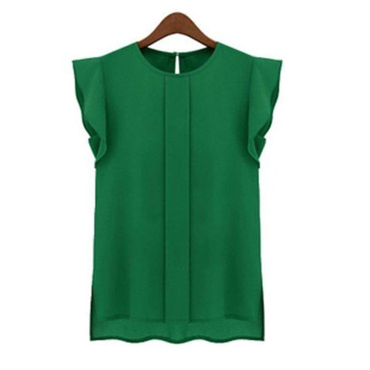 Top smanicato VERDE chiffon camicetta blusa donna shirt green donna fashion