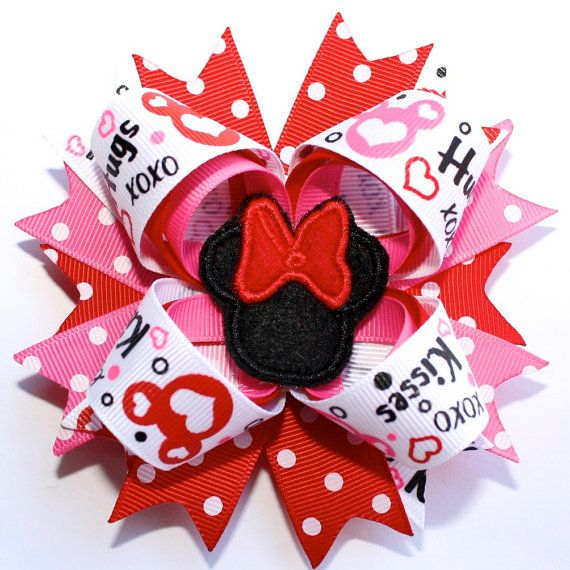 Minnie Mouse Valentine's Day Bow from LeBelle Boutique on Etsy!