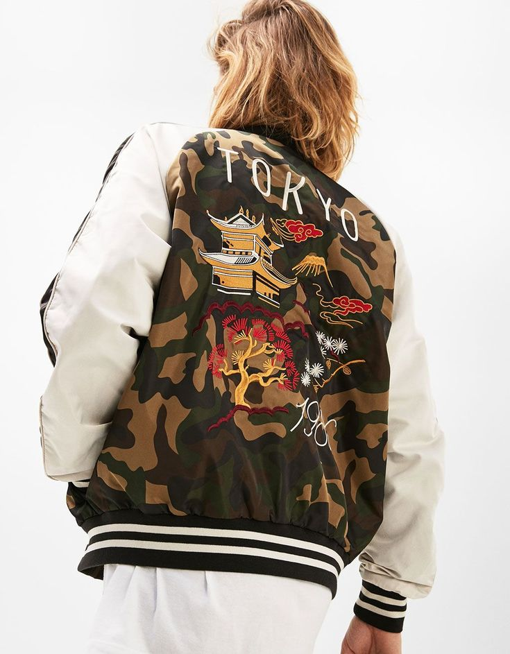 Japanese embroidery jacket - Camouflage - Bershka Spain - Canary Islands