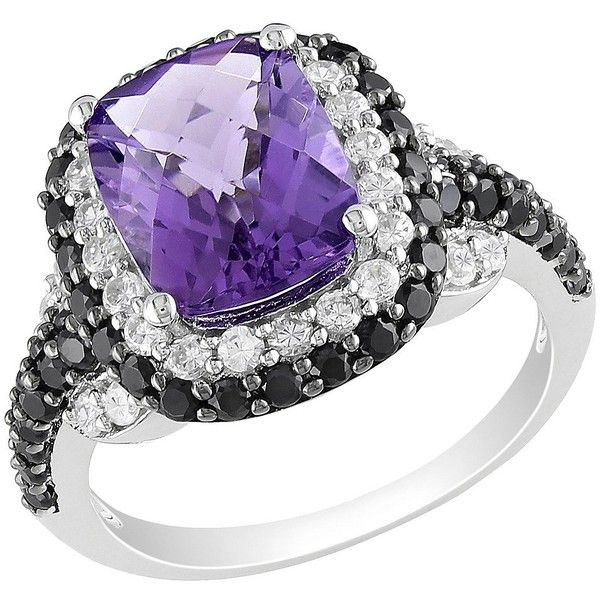 Amethyst Zirconia Ring - Multicolor (490 PLN) ❤ liked on Polyvore featuring jewelry, rings, bijoux, tri color jewelry, colorful jewelry, sparkle jewelry, band jewelry and multi colored jewelry