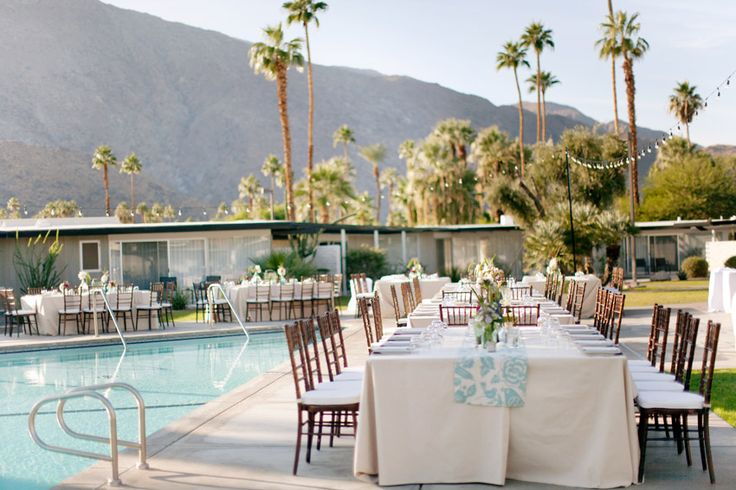 Lower tablescapes!Ideas, Poolside Receptions, Pools Side, Spring Wedding, Palm Springs, Palms Trees, Pools Receptions, Palms Spring, Wedding Reception