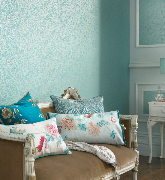 1000 images about turquoise wallpaper on pinterest for Turquoise wallpaper for bedroom