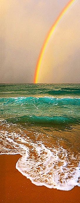 Image result for high tide and rainbows a fusion of sea and sky embracing the shore