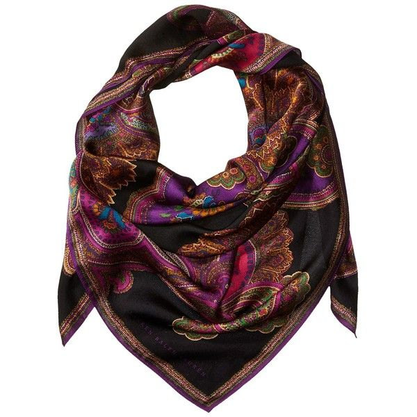 LAUREN Ralph Lauren Lena Silk Square Scarf (Black) ($88) ❤ liked on Polyvore featuring accessories, scarves, colorful scarves, silk scarves, paisley scarves, lauren ralph lauren and pure silk scarves