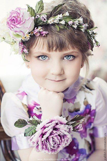 """Купить Венок на голову """"Прованс"""". Цветы из шелка. - венок из цветов, венок, венок на голову"""