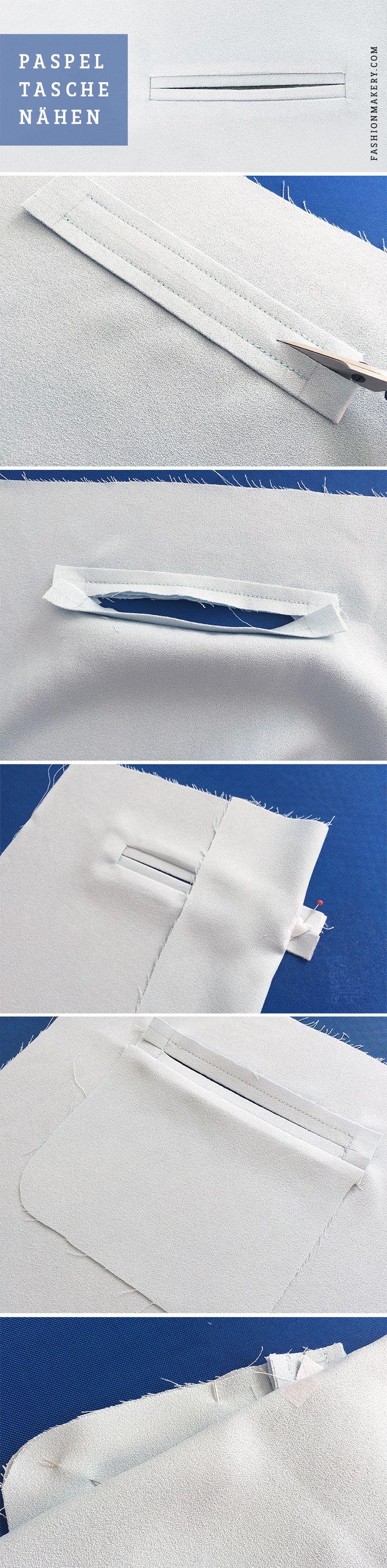 PASPELTASCHE NÄHEN // Paspeltaschen findet man vor allem an Hosen und Blazer oder Jacken wieder. Durch ihre zwei schmalen Streifen wirkt diese Taschenform sehr fein und schick. Es gibt natürlich auch hier weitere Variationen, wie zum Beispiel mit Patte oder Knopf, diese findet man oft an Anzughosen oder Sakkos für Herren. Bevor man sich an das Einarbeiten der Tasche ran macht, sollte man die Paspel, sowie den Bereich auf dem Kleidungsstück mit einer Einlage fixieren.
