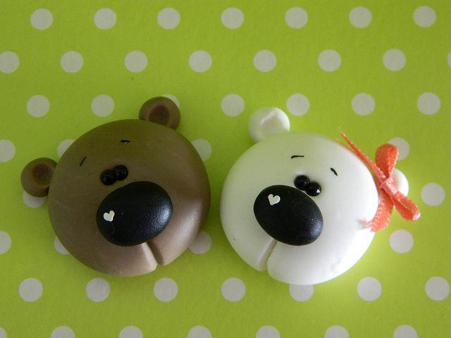 cute little bear heads (would make cute earrings) or larger ones for ornamentsl