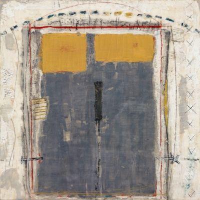 Marilyn Jonassen. Grey and Yellow, 2008, encaustic on clay board, 24in x 24in x 2in