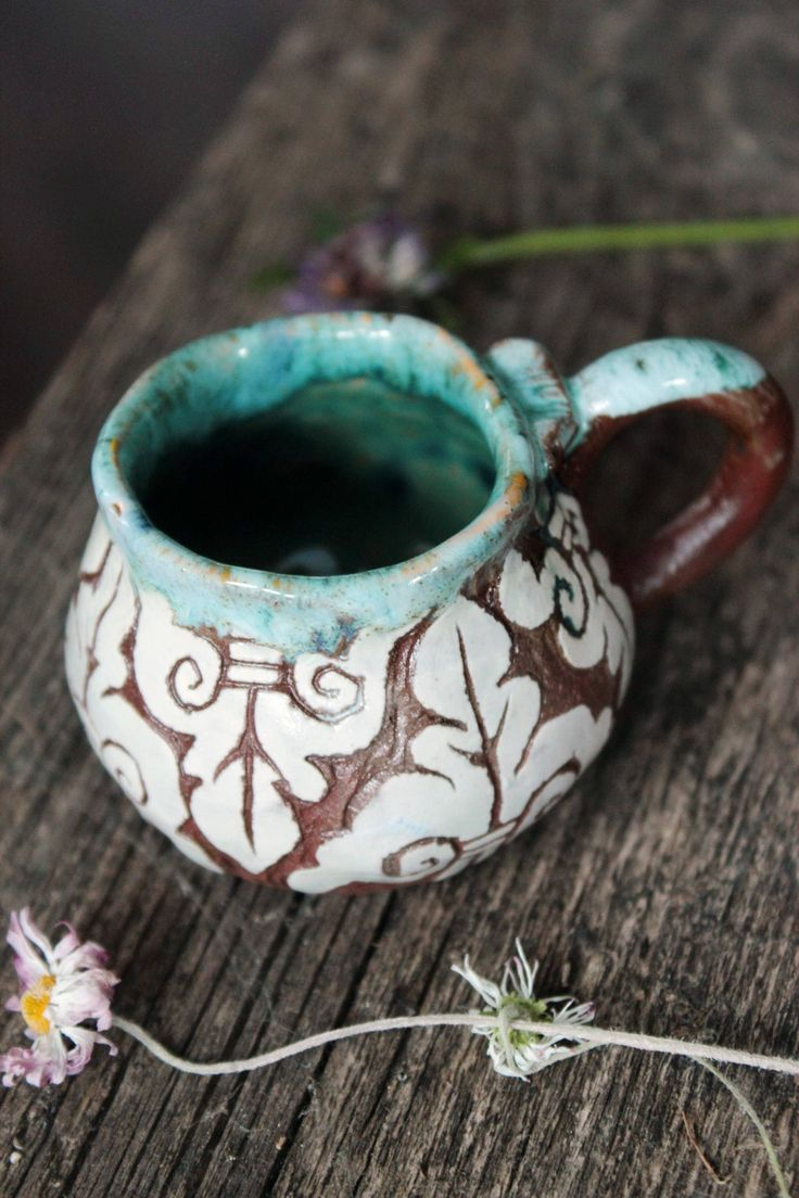 sgraffito cup small drinking cup for espresso cup with sgraffito carved cup handmade small cup small coffee cup by NorthernHerbs on Etsy