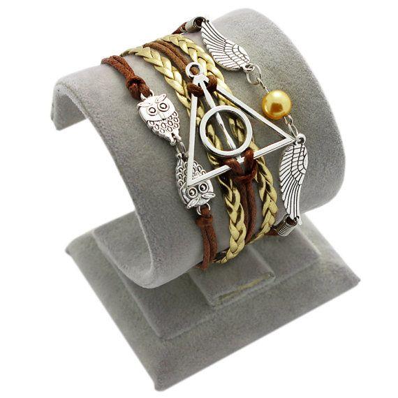 Bracelet à breloques steampunk Golden Snitch aile Bracelet Harry Potter Bracelet hibou Bracelet Harry Potter