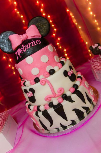 What a great cake at a Minnie Mouse and Zebra Print Birthday Party!  See more party ideas at CatchMyParty.com!  #partyideas #minniemouse