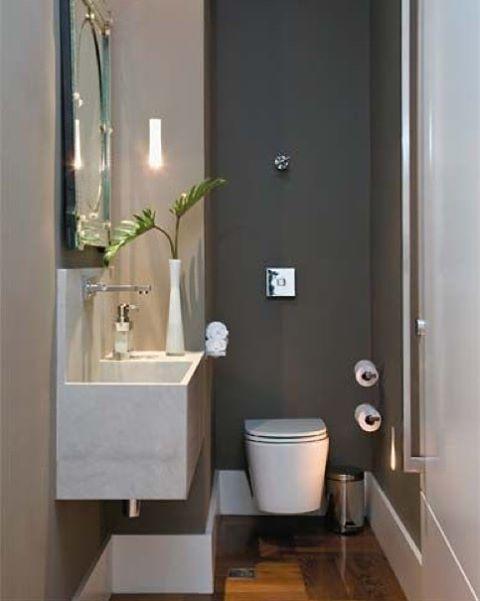 +1000 ideias sobre Banheiros Pequenos Na Cor Cinza no Pinterest  Casas De Ba -> Banheiro Pequeno Cor Cinza