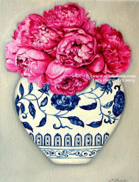 CUSTOM Still Life - Hot Pink Peonies in a Ming Vase . . . . .16x20 Original OIL Painting by LARA Ginger Jar