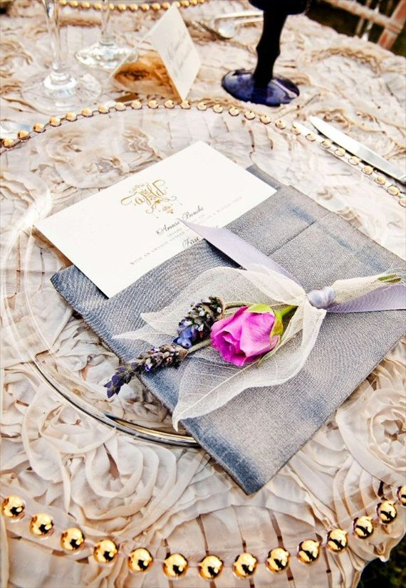 napkin with menu and flower/lavender: Tables Sets, Purple Gold, Chargers Plates, Photography Wedding, Place Sets, Napkins Idea, Tablescapes Inspiration, Beauty Tables, Grey And Gold Tablescapes