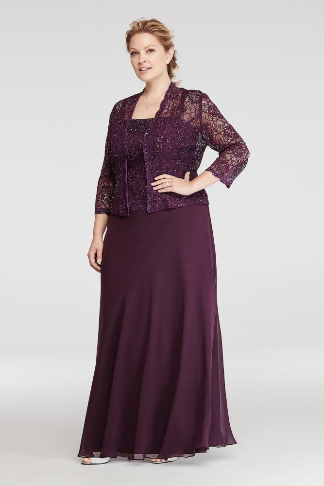 Plus size two piece jacket mother of bride groom dress for Purple plus size dresses for weddings