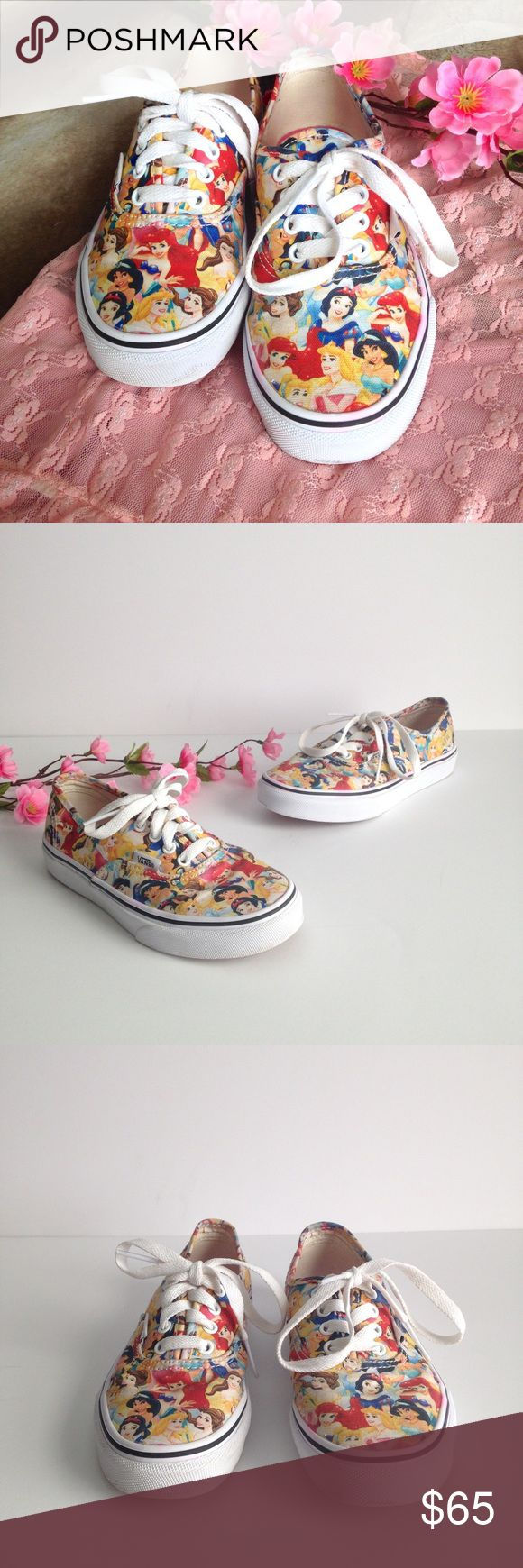 Vans Limited Edition Disney Princesses Sneakers Absolutely adorable little Vans, limited edition collab with Disney! Features all your favorite Disney princesses! In gently used condition, has some minor light pink staining on the midsoles as pictured, not sure what from! Excellent condition otherwise. Size YOUTH 2, insoles measure approximately 8inches. I happily entertain reasonable offers 😊👑 Vans Shoes Sneakers