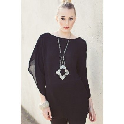 Sway Fold Over Sleeve Tunic Blouse from repertoire.co.nz