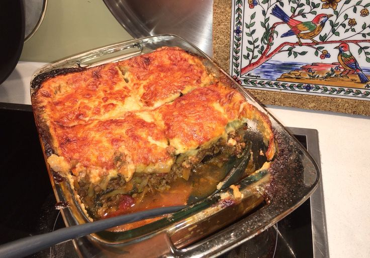 Moussaka, based on this recipe: http://www.taste.com.au/recipes/15432/moussaka, but with 500g lamb mince not 1kg beef, and substituting 1/2 tin lentils and grated zucchini and carrot for half the tomatoes. Juicy and succulent: just remember to bake the eggplant until melts...