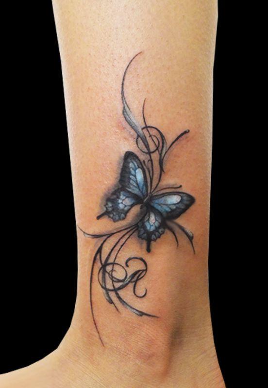 Tetování motýl kotník motýlek