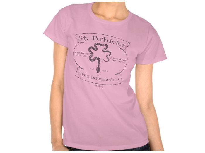 St Patrick's Reptile Exterminations, Style is Women's Hanes ComfortSoft T-Shirt, color is pink