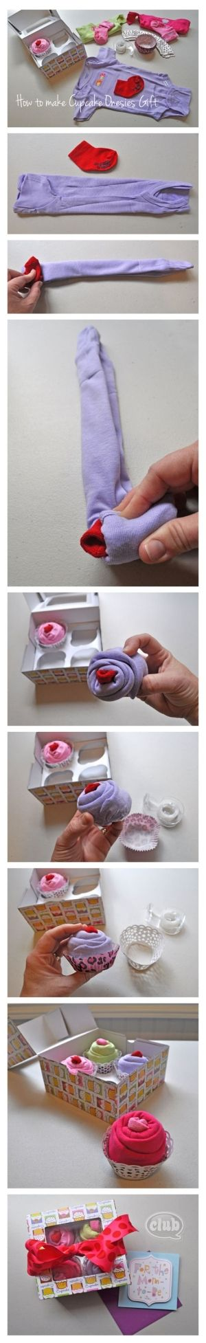 Cupcake onesies baby gift - perfect homemade gift idea. So cute and always a hit at the baby shower!.... Hmmmm wonder if you could do this for a teen with bootie scocks and a t-shirt? by Hicks