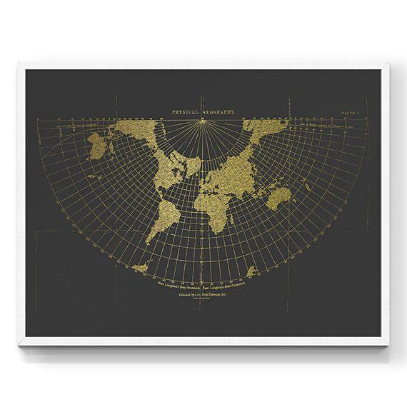 Stampa la mappa di mondo. Mappa del mondo. Stampa d'epoca