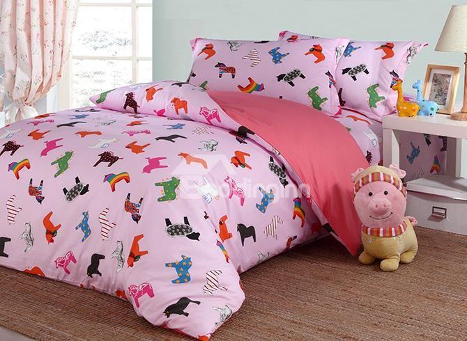 lovely little unicorn pattern cotton kids 4piece duvet cover sets
