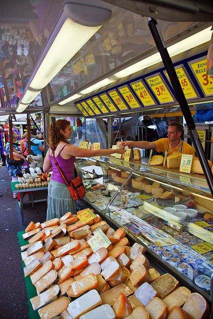Buying cheese at the Albert Cuyp Market