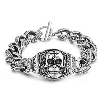 24MM STAINLESS STEEL WIDE DARK ROCK AND ROLL SKULL CROSS CURB LINK CHAIN BRACELET 9in THE ICE EMPIRE. $27.95. ROCK AND ROLL SKULL CROSS CURB LINK CHAIN BRACELET. A MUST HAVE FOR ANY BIKER OR GOTHIC RING COLLECTON!. WIDTH: 24MM / LENGTH: 9inches. METAL: 316L STAINLESS STEEL. STYLE: WIDE DARK SHIELD CROSS CURB LINK CHAIN BRACELET. Save 44%!