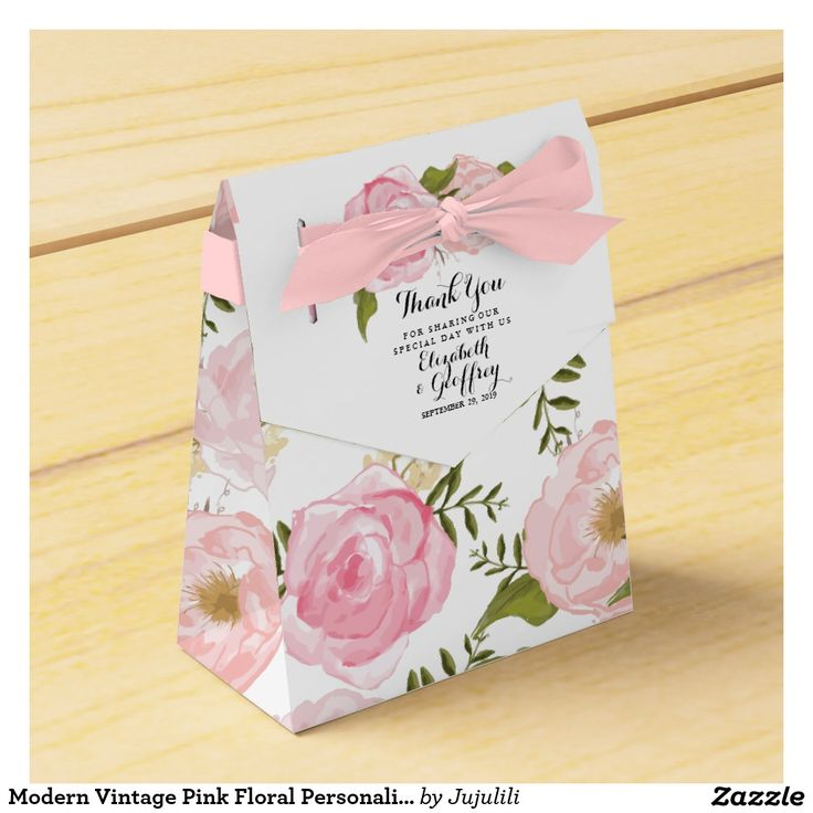 Modern Vintage Pink Floral Personalized Wedding Favor Box