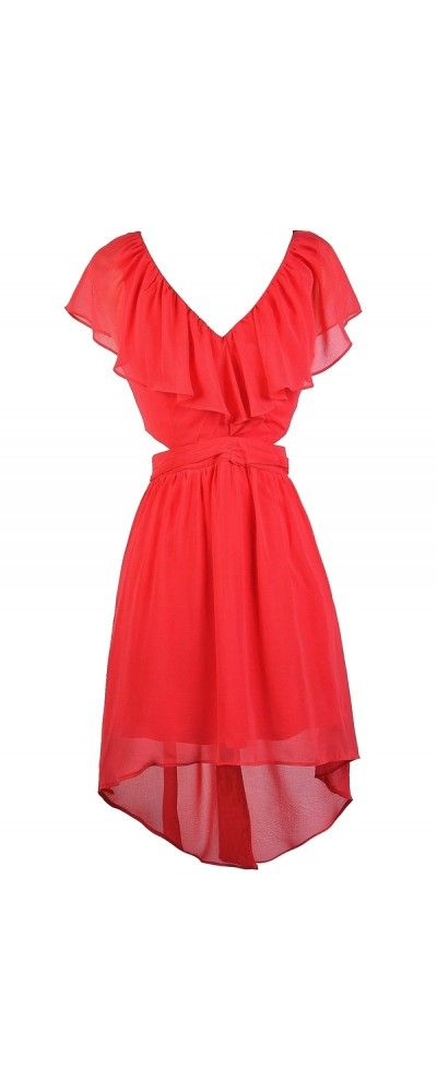 Lily Boutique Ruffle Front Cutout Side High Low Dress in Coral, $38 www.lilyboutique.com