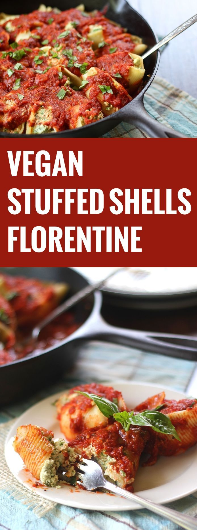 Rich cashew-tofu ricotta with fresh spinach is stuffed into tender pasta pockets and smothered in garlicky tomato sauce to make these vegan stuffed shells.